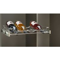"Chrome 30"" Wire Pullout Wine Bottle Rack for a 14"" Deep Pantry"