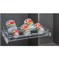 "Chrome 18"" Wire Pullout Spice or Can Rack for 14"" Deep Pantry"