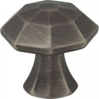 "Jeffrey Alexander by Hardware Resources - Wheeler Collection Cabinet Knob - 1.25"" Diameter in Brushed Pewter"
