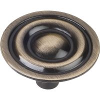 """Elements By Hardware Resource - Kingsport Collection Knobs - 1.3125"""" Diameter in Brushed Antique Brass"""