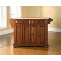 Alexandria Natural Wood Top Kitchen Island in Classic Cherry Finish
