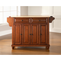 Cambridge Natural Wood Top Kitchen Island in Classic Cherry Finish