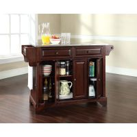 LaFayette Stainless Steel Top Kitchen Island in Vintage Mahogany Finish