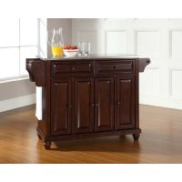Cambridge Stainless Steel Top Kitchen Island in Vintage Mahogany Finish