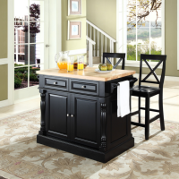 """Butcher Block Top Kitchen Island in Black Finish with 24"""" Black X-Back  Stools"""