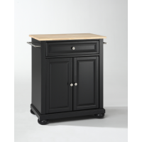 Alexandria Natural Wood Top Portable Kitchen Island in Black Finish