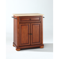 Alexandria Natural Wood Top Portable Kitchen Island in Classic Cherry Finish