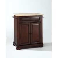 Alexandria Natural Wood Top Portable Kitchen Island in Vintage Mahogany Finish