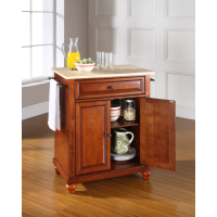 Cambridge Natural Wood Top Portable Kitchen Island in Classic Cherry Finish