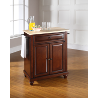 Cambridge Natural Wood Top Portable Kitchen Island in Vintage Mahogany Finish