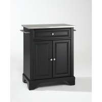 LaFayette Stainless Steel Top Portable Kitchen Island in Black Finish