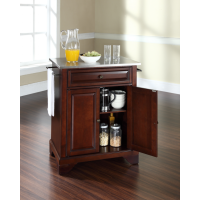 LaFayette Stainless Steel Top Portable Kitchen Island in Vintage Mahogany Finish