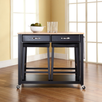 "Natural Wood Top Kitchen Cart/Island in Black Finish With 24"" Black Upholstered Saddle Stools"