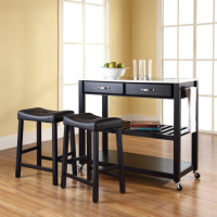 "Stainless Steel Top Kitchen Cart/Island in Black Finish With 24"" Black Upholstered Saddle Stools"