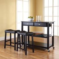 "Solid Black Granite Top Kitchen Cart/Island in Black Finish With 24"" Black Upholstered Saddle Stools"