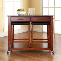 "Solid Black Granite Top Kitchen Cart/Island in Classic Cherry Finish With 24"" Cherry Upholstered Saddle Stools"
