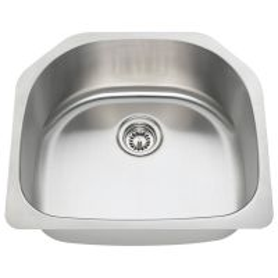 "D-Bowl Stainless Steel Kitchen Sink - Fits 24"" Minimum Cabinet Size"