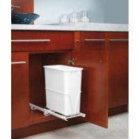 "Single Pullout Waste Container - Fits a 12"" Wide Base Cabinet or One Side of Sink Base (Rev-A-Shelf)"